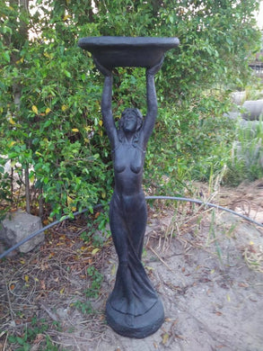 Statue Lady Bird Feeder Bath Sculpture