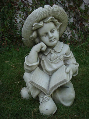 Statue Boy Reading Sculpture Figurine Ornament Feature Garden Decor