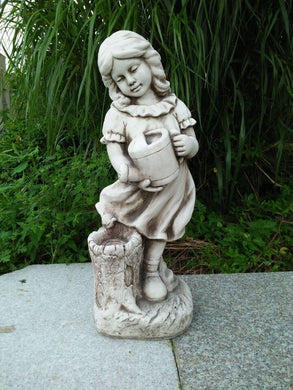 Statue Girl Watering Can Sculpture Figurine Ornament Feature Garden Decor