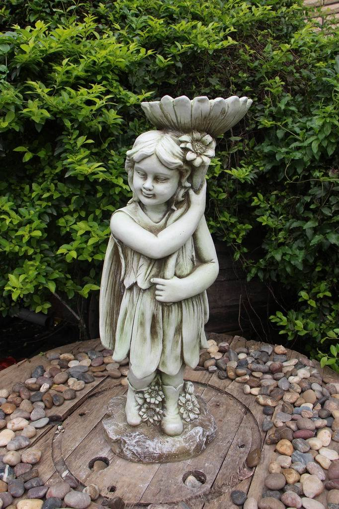 Statue Fairy Bird Feeder Sculpture Figurine Ornament Feature Garden Decor