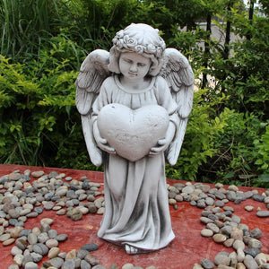 Statue Angel Holding Heart Sculpture Figurine Ornament Feature Garden Decor