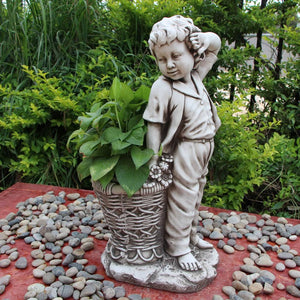 Statue Boy Flowerpot Planter Sculpture Figurine Ornament Feature Garden Decor