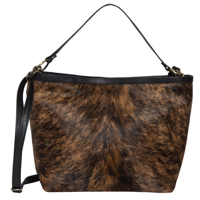 Slovakia- Brindle Cowhide and Black Leather Ladies Bag