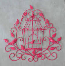 WALL DECOR BIRDCAGE PINK 37x6x38cm