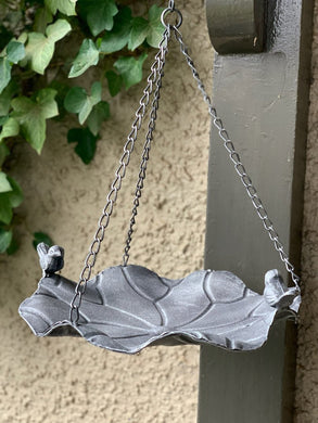 Bird Feeder Metal Steel Hanging with Bird Sculpture Decor