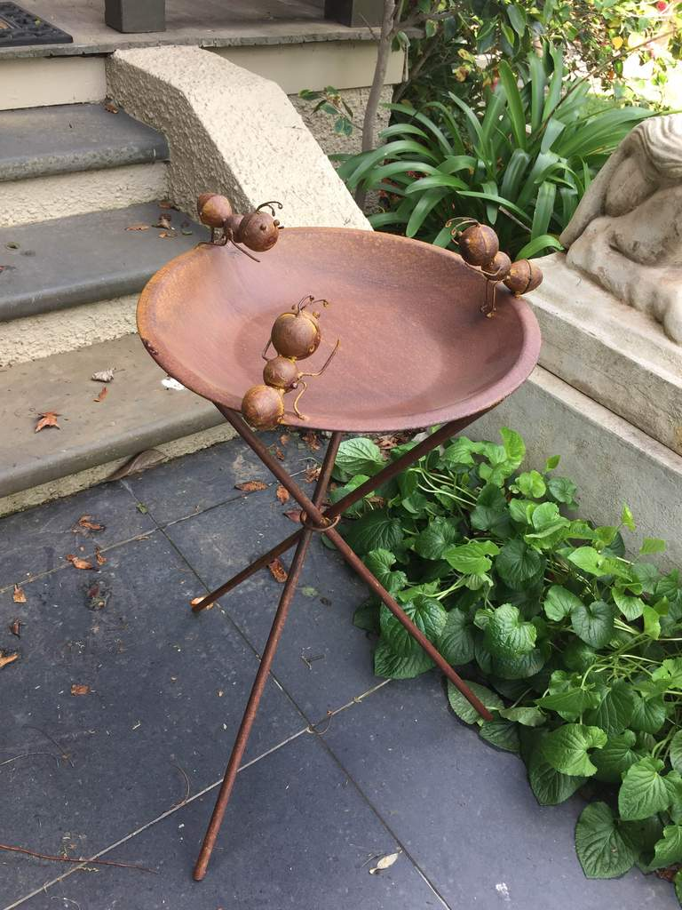 Bird Feeder Bath Ants Sculptures Metal Steel Stand Garden Decor