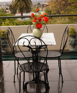Patio Setting Bella 5 piece Cafe Dining Indoor Outdoor Rectangle Marble Table Cast Iron Base 4 Chairs