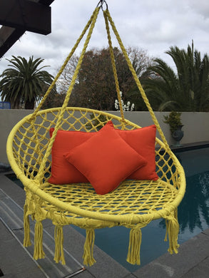Macrame Hanging Chair Yellow Woven Hammock Swing Retro Indoor Outdoor