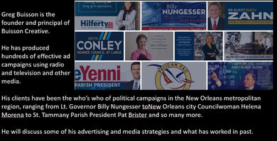 ElectionsWin.com: Greg Buisson, Elections Advertising and Media: Completed