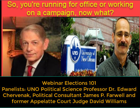 ElectionsWin.com: ELECTIONS AND CAMPAIGNS 101:James Farwell, Dr. Ed Chervenak & Judge David Williams: Completed