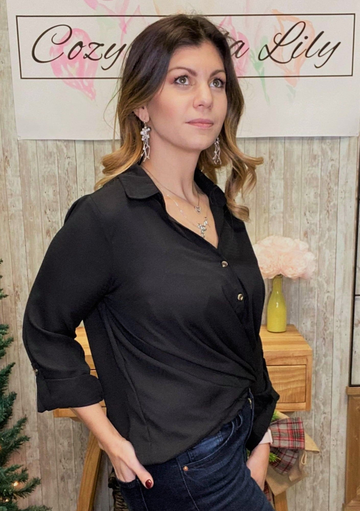 Collared Front Twist Top