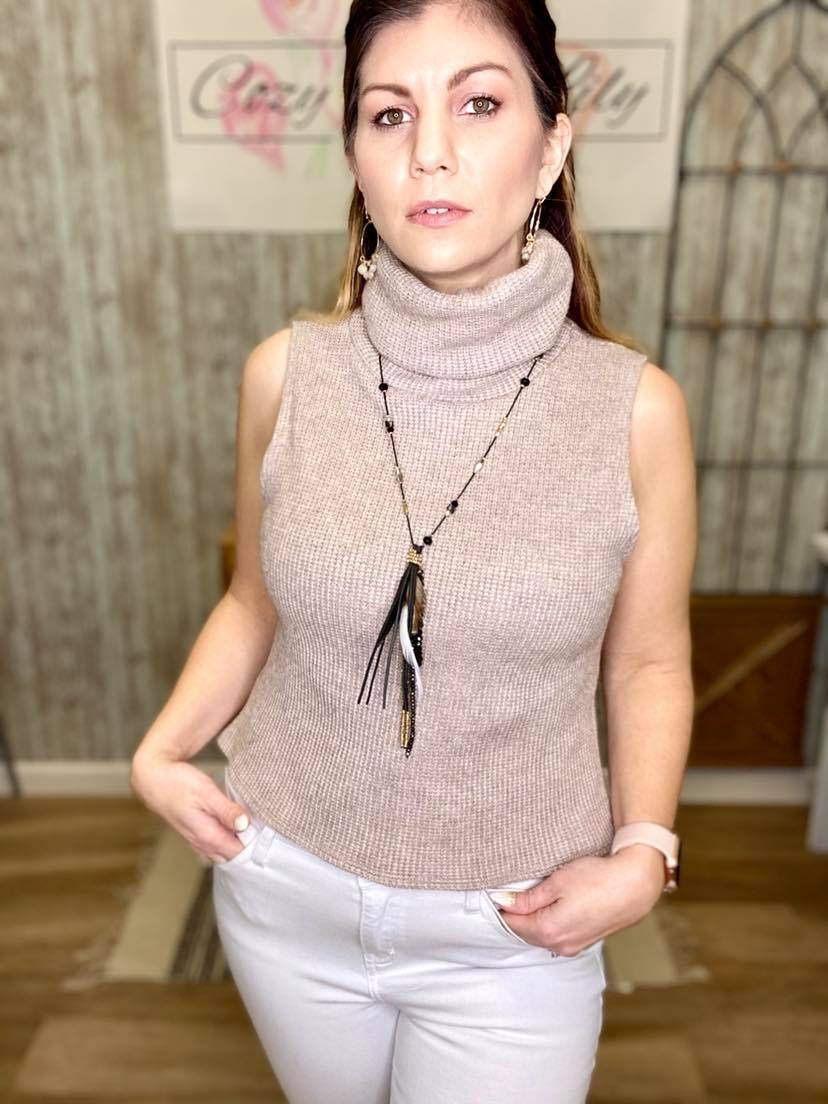 Sleeveless Taupe Turtle Neck