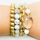 Gold and Marble Stack Bracelet
