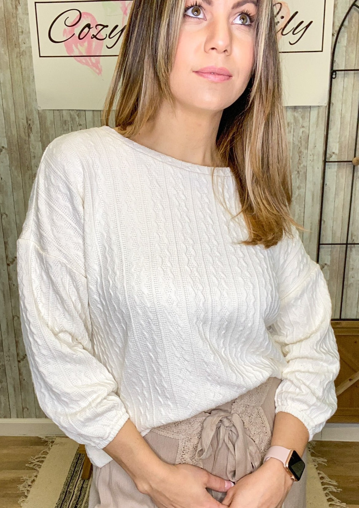 Ivory Button Back Sweater