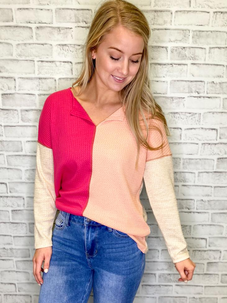 Like A Boss Waffle Color Block Top