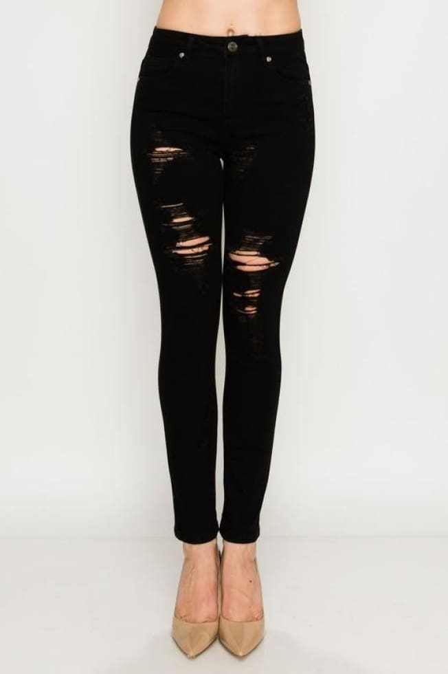 Black Ripped Denim - Cozy Calla Lily Boutique