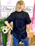 Black Swiss Blouse - Cozy Calla Lily Boutique