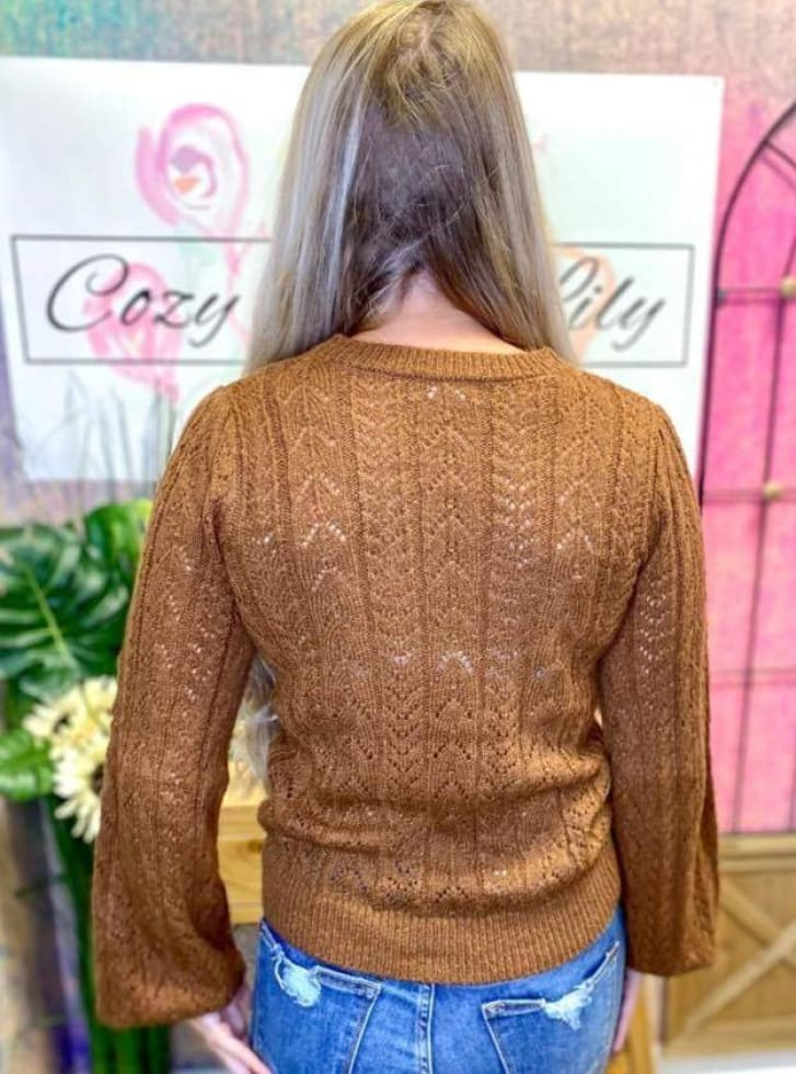 Brown Open Knit Sweater - Cozy Calla Lily Boutique