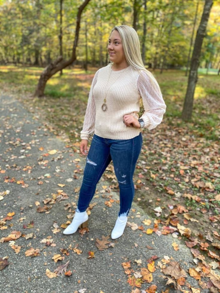 Cream Sweater with Sheer Sleeve - Cozy Calla Lily Boutique