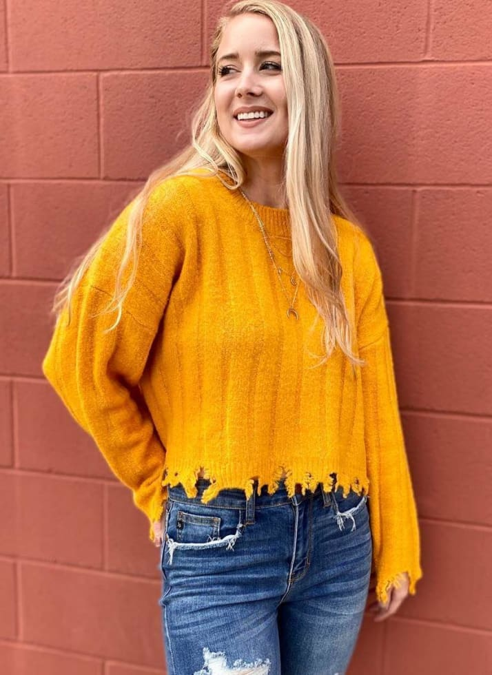 Distressed Hem Sweater - Cozy Calla Lily Boutique