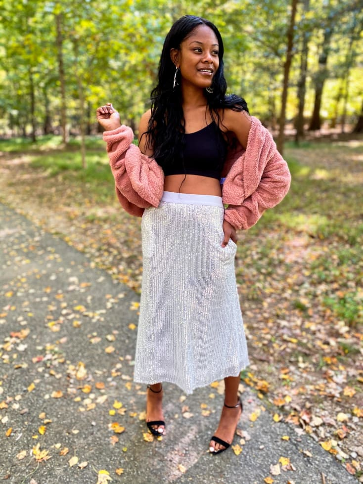 Glam Sequin Silver Skirt - Cozy Calla Lily Boutique