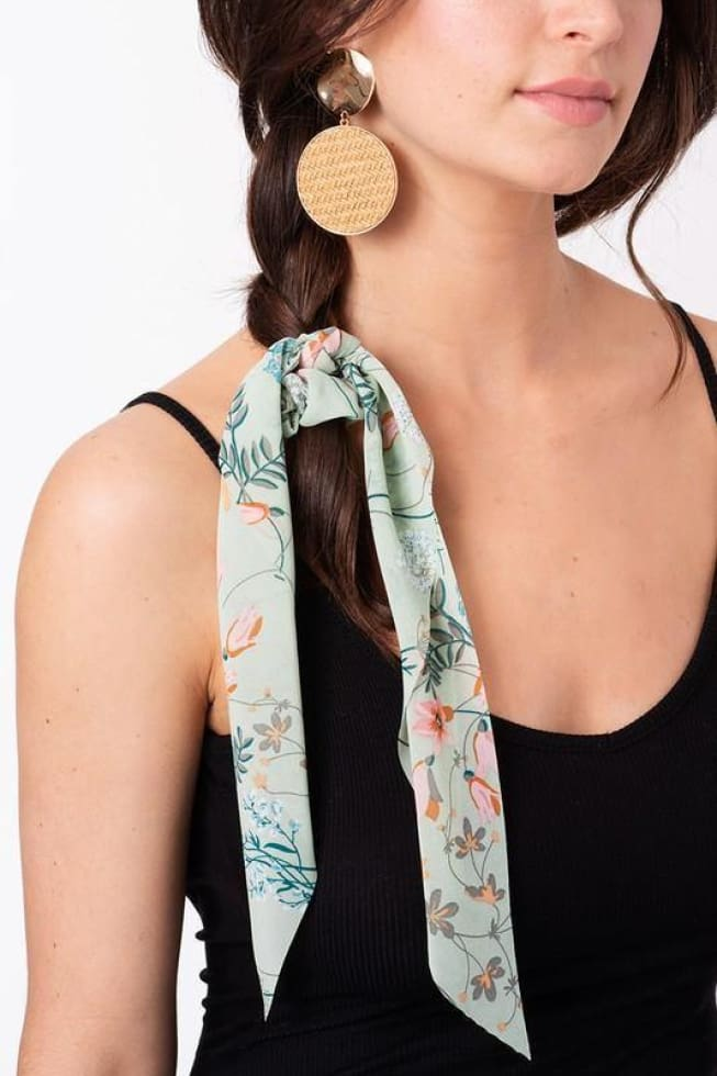 Green Scarf Hair Tie Cozy Calla Lily