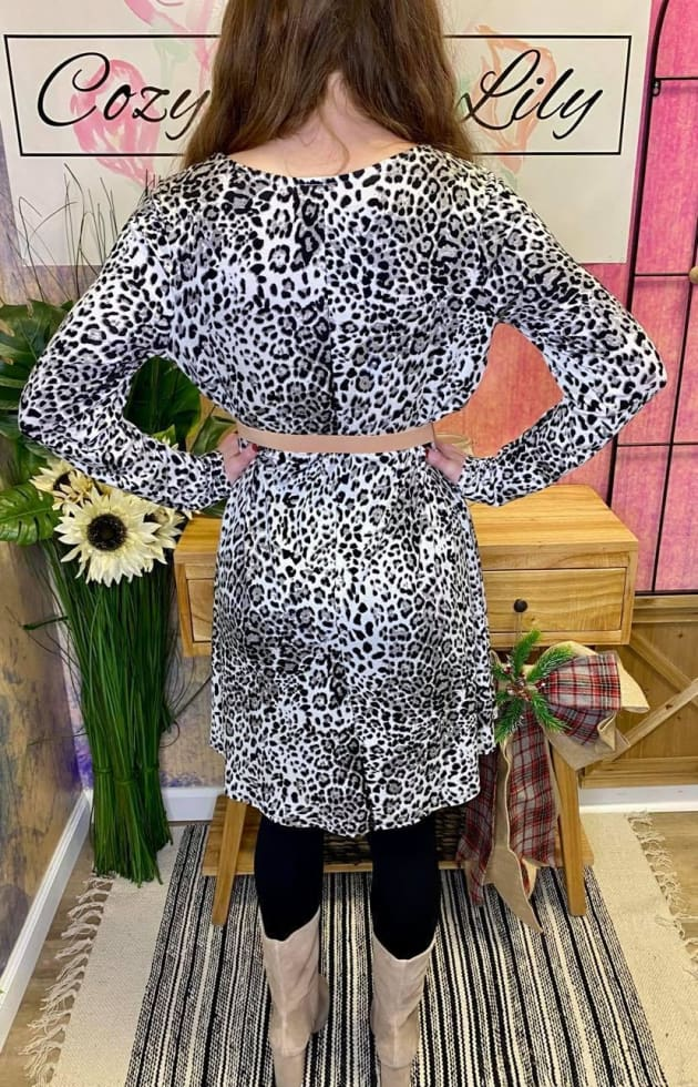 Leopard Stretch Dress - Cozy Calla Lily Boutique