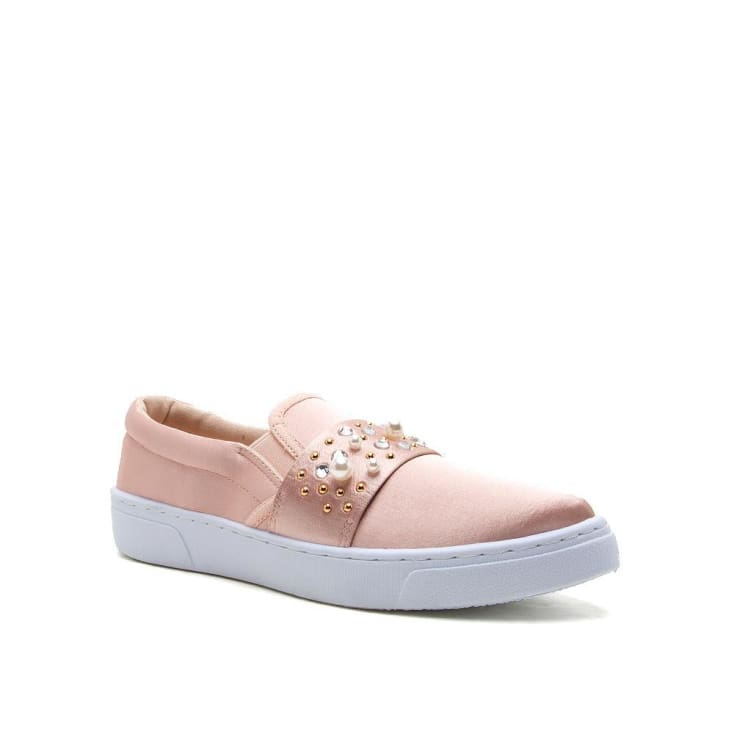 Blush Embellished Slip on Satin Sneaker cozy calla lily