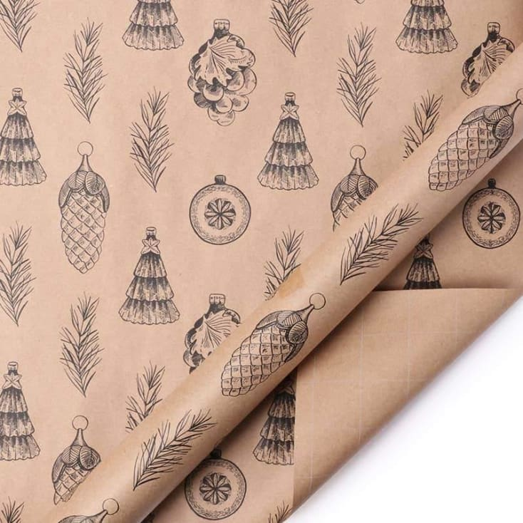 Pine-cones Kraft Natural/Black Wrapping Paper - Cozy Calla Lily Boutique