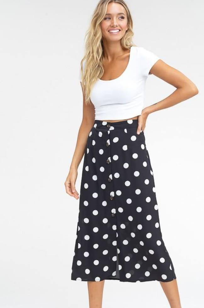 POLKA DOT BUTTON DOWN MID SKIRT COZY CALLA LILY