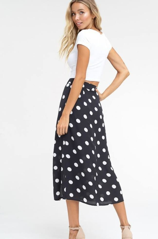 POLKA DOT BUTTON DOWN MID SKIRT - Cozy Calla Lily Boutique
