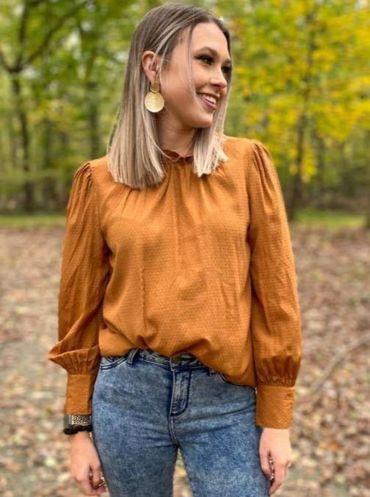 Rust Ruffle Neck Top - Cozy Calla Lily Boutique