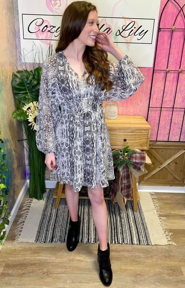 Sassy Snake Print Dress - Cozy Calla Lily Boutique