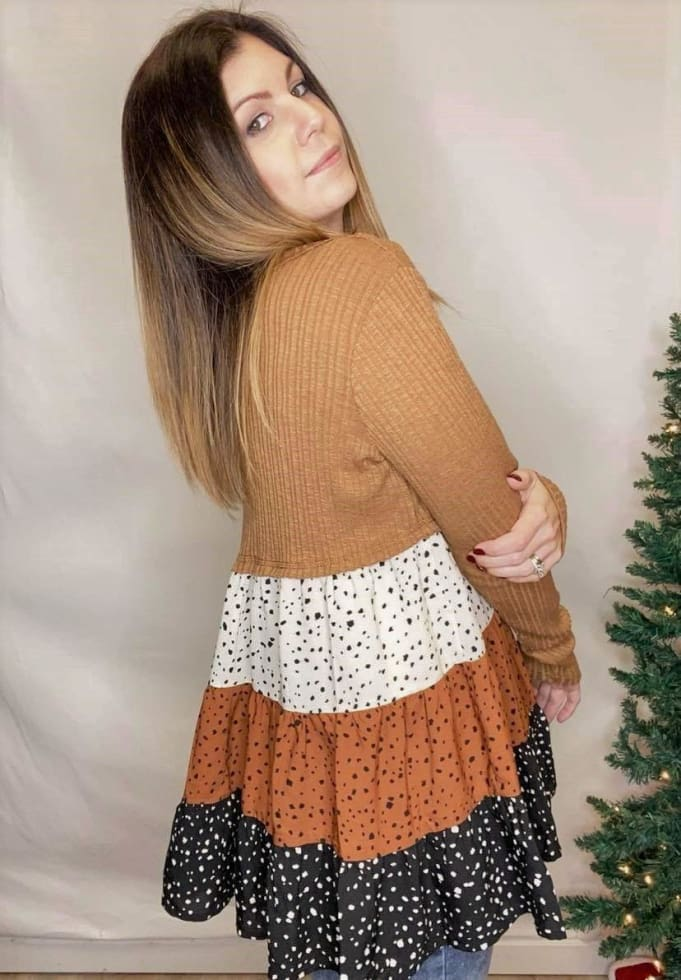 Speckled Waffle Blouse - Cozy Calla Lily Boutique