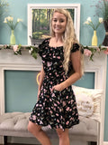 Strapless Black Floral Dress - Cozy Calla Lily Boutique