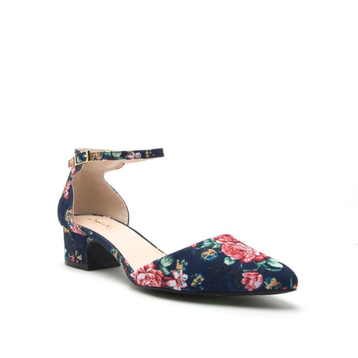 Swing Back Navy Floral Shoe cozy calla lily
