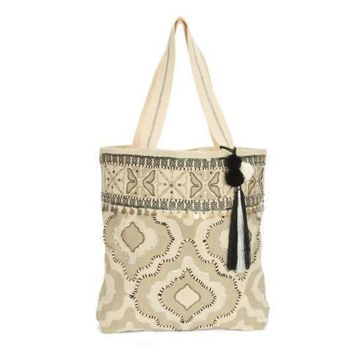 Upcycled Embellished Cotton Tote - Cozy Calla Lily Boutique