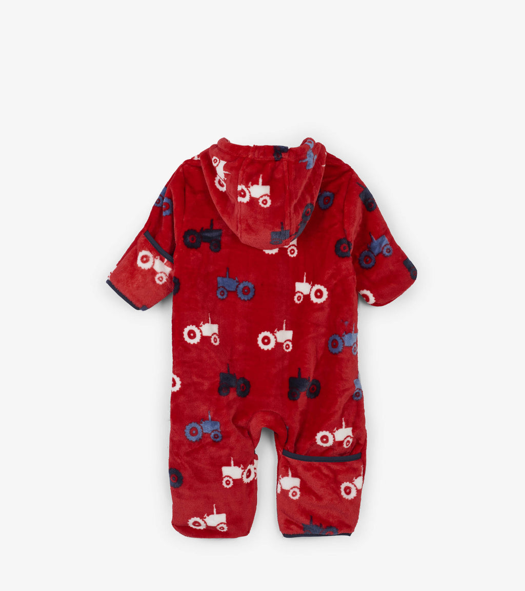 warm onesie for baby boy with tractor print