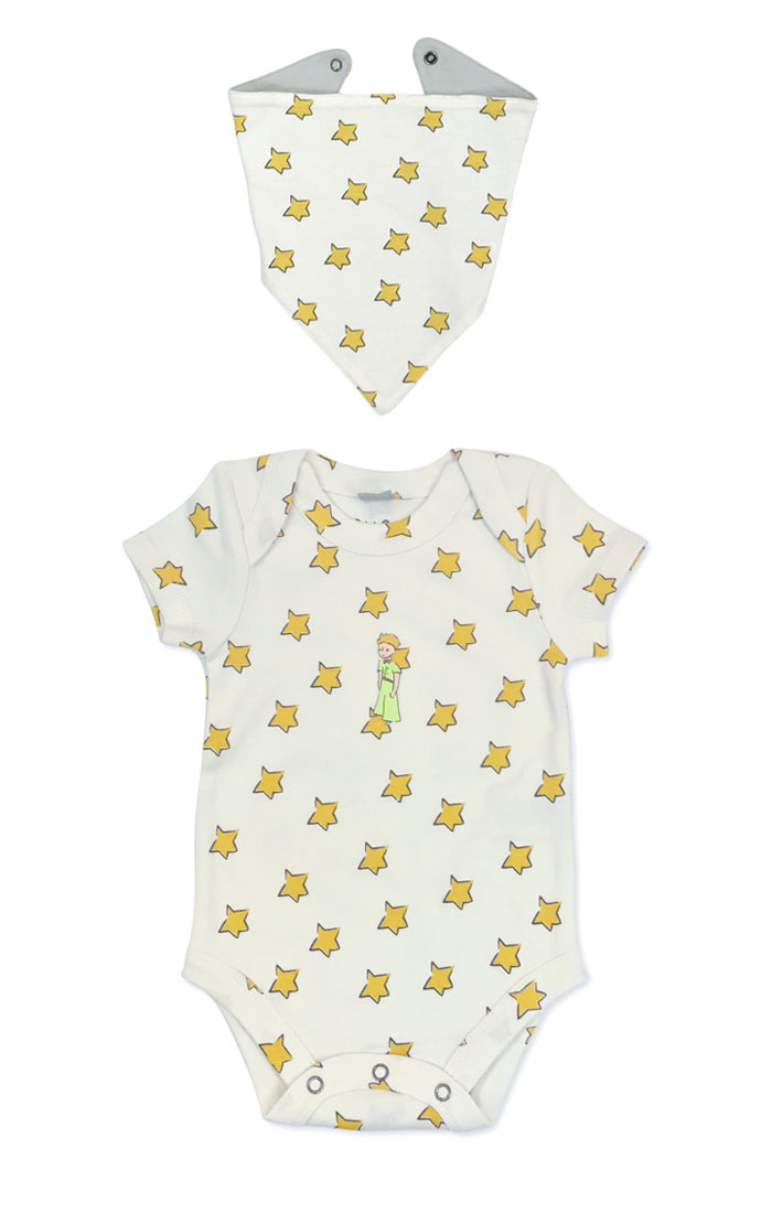 bodysuit and bib set with all over star print and famous literary character The Little Prince on chest