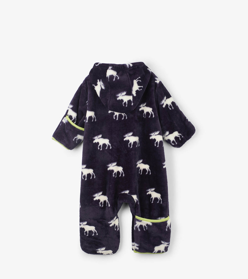 footed onesie for baby boy in fleece material