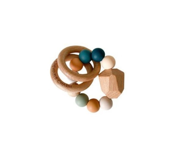 Multicolor Silicone + Wood Teether