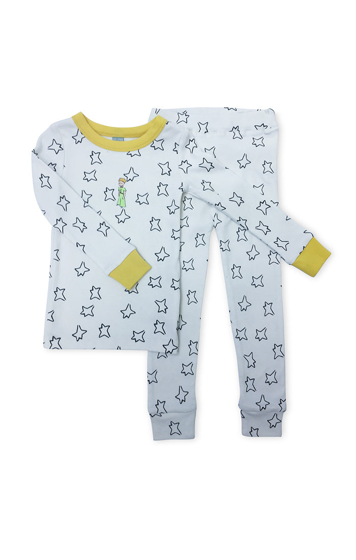 pajama set with all over print of blue stars and literary icon The Little Prince on chest