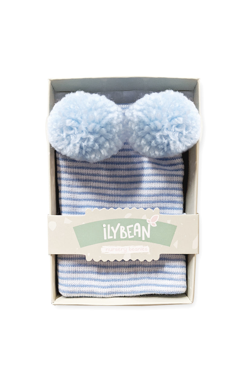 Double Blue Poms Newborn Beanie