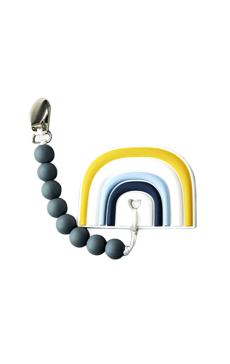 Blue Rainbow Baby Teether and Clip