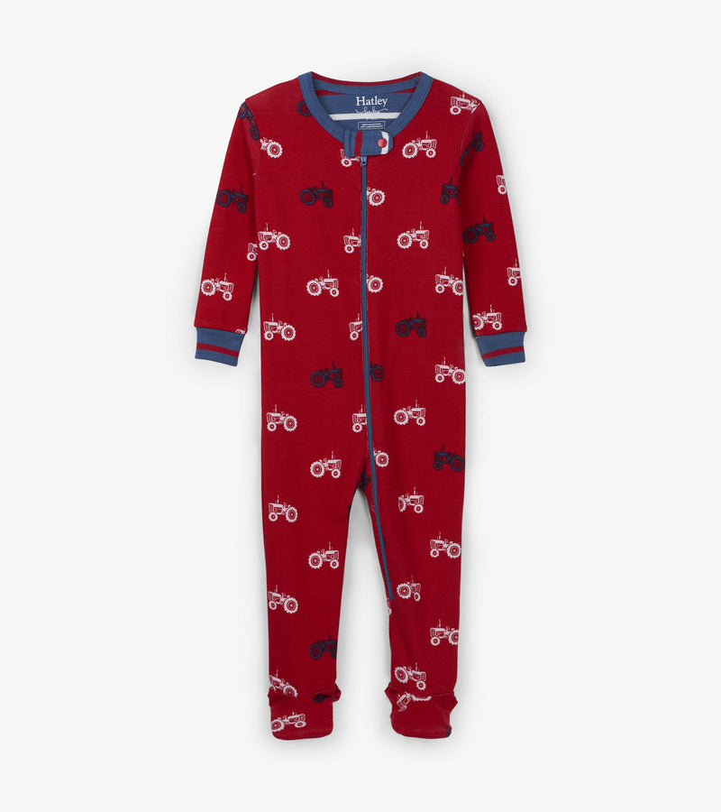 boys footed pajama sleepwear with tractor print