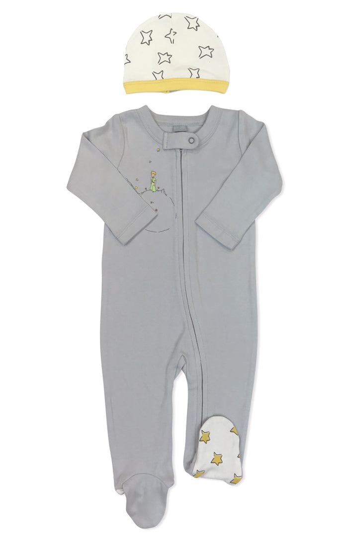 grey pajama set with hat covered in star print and literary icon The Little Prince on chest