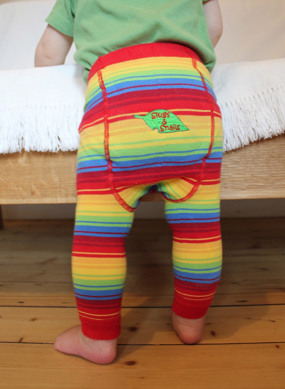 Rainbow Stripe Cotton Footless Tights