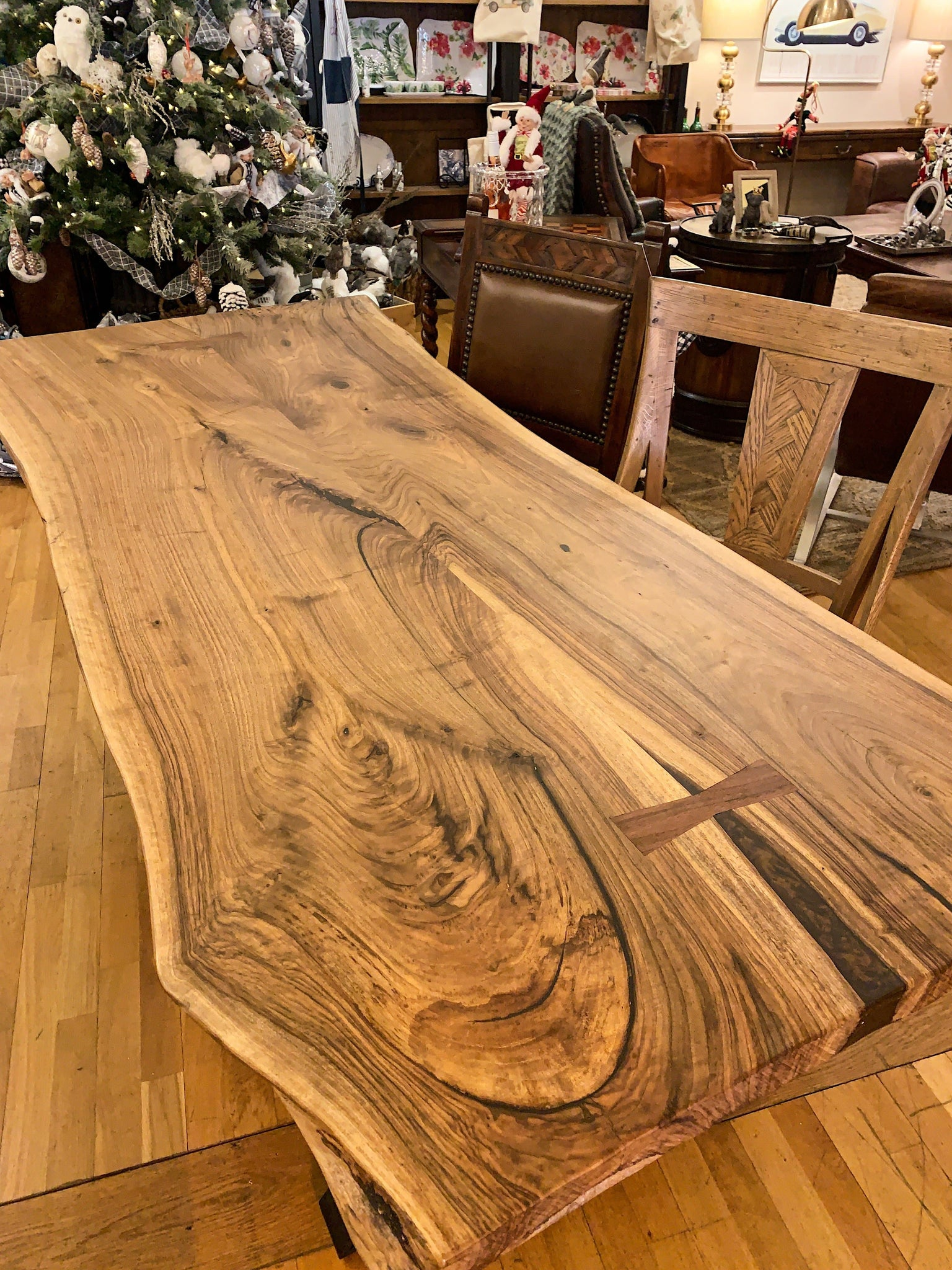 English Walnut Live Edge Dining Table