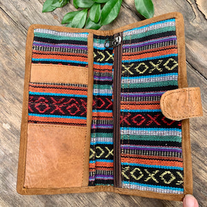 Leather and Cotton Wallet