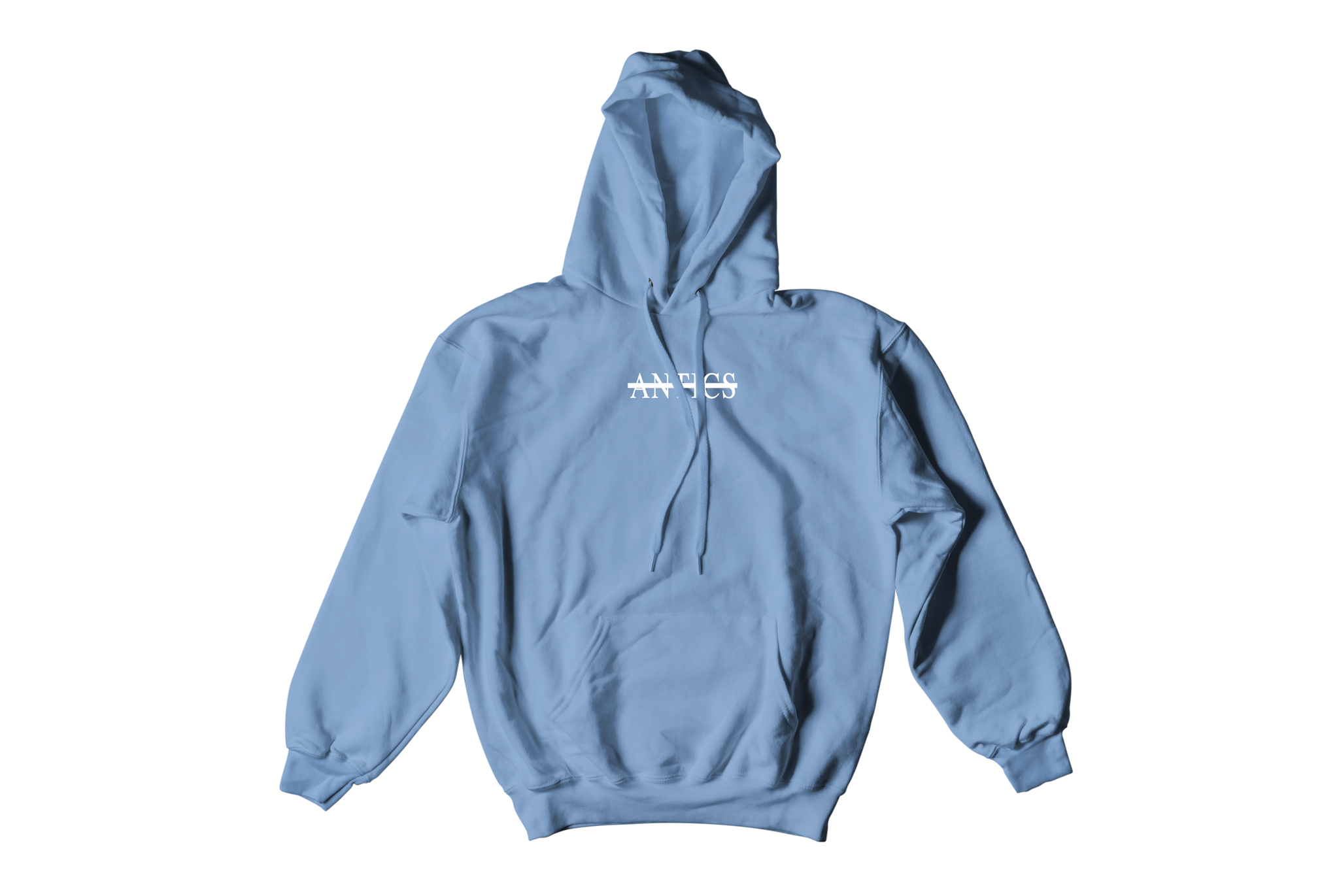 """Antics"" Embroidered Hoodie - Carolina Blue"